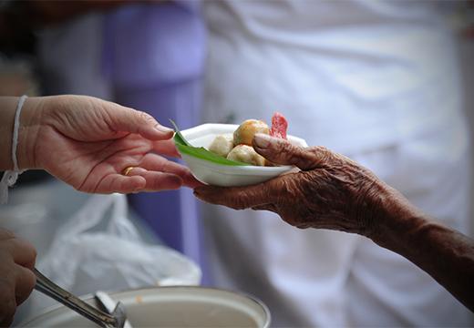 тарелка еды в руках