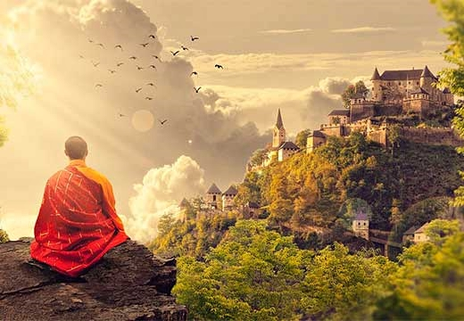 монах на утесе