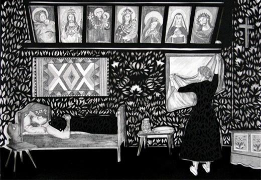 женщина прикрывает зеркало