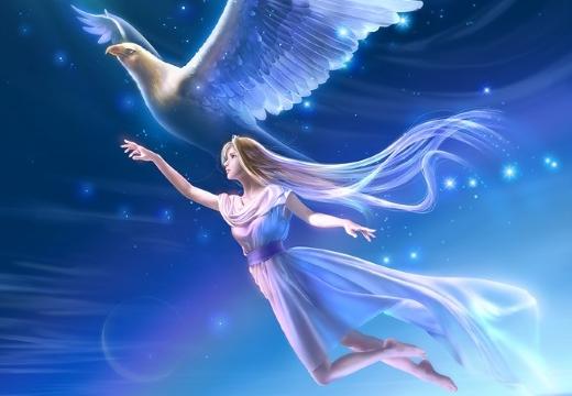 девушка летит с голубем