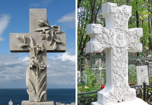 белые мраморные кресты