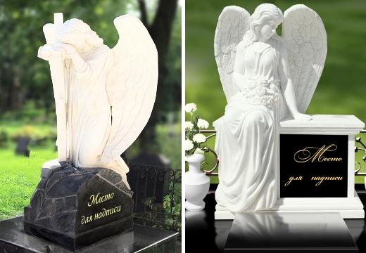 могильные памятники с ангелами