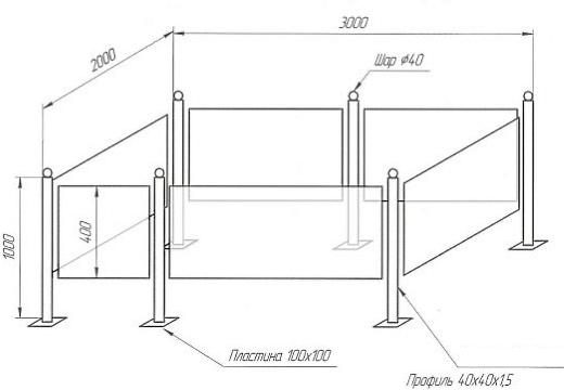 чертеж могильной оградки