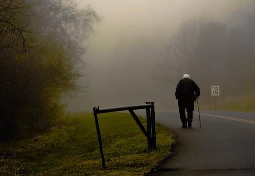 старик идет по дороге