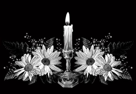 свеча с цветами гравировка