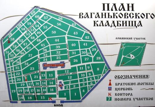 План-схема Ваганьковского кладбища