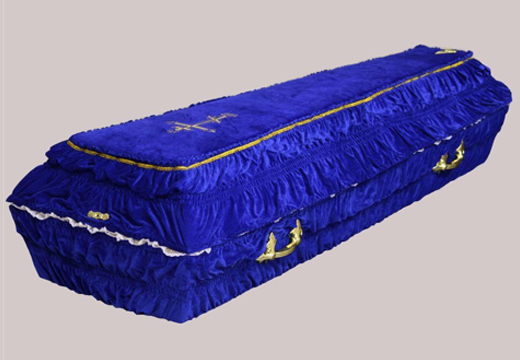 Гроб синего цвета