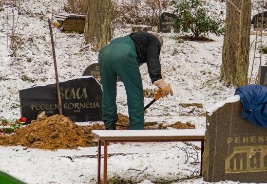рыть землю на кладбище